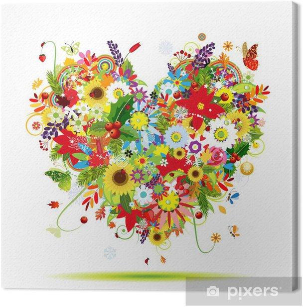 Four seasons. Art heart shape for your design Canvas Print -