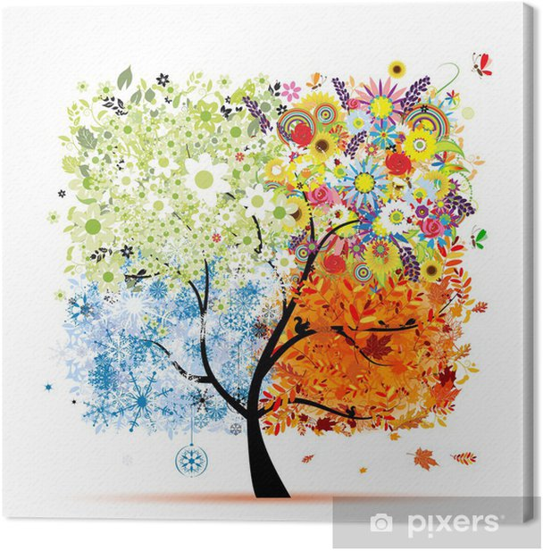 Four seasons - spring, summer, autumn, winter. Art tree Canvas Print - Wall decals
