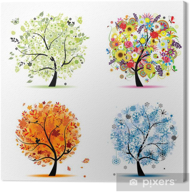 Four seasons - spring, summer, autumn, winter. Art trees Canvas Print - Wall decals