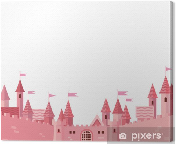 Frame with pink castle. Canvas Print - Buildings and Architecture