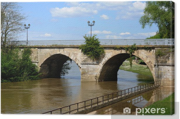 France, old bridge of Poissy in Les Yvelines Canvas Print - Holidays