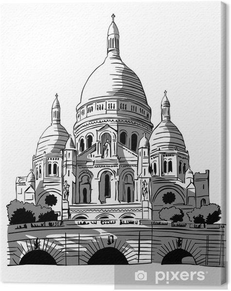 France, Paris: drawing of Le Sacre-coeur Canvas Print - Public Buildings