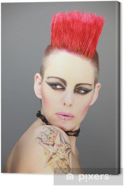 Frau mit rotem Iro Punk Tattoo Canvas Print - Tattoos