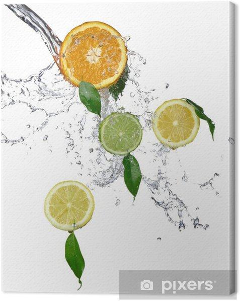 Fresh limes and lemons with water splash Canvas Print - Fruit