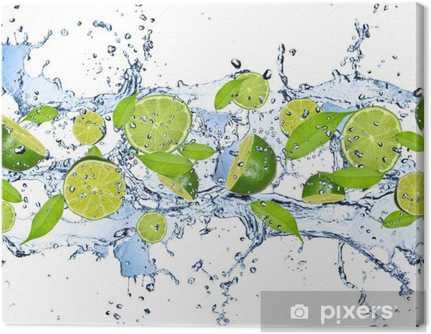 Fresh limes in water splash,isolated on white background Canvas Print - For home
