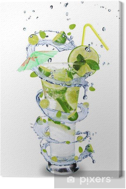 Fresh mojito drink with splash spiral around glass Canvas Print - Wall decals