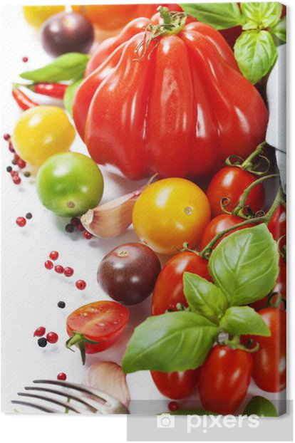 fresh tomatoes and herbs - healthy eating concept Canvas Print - Themes