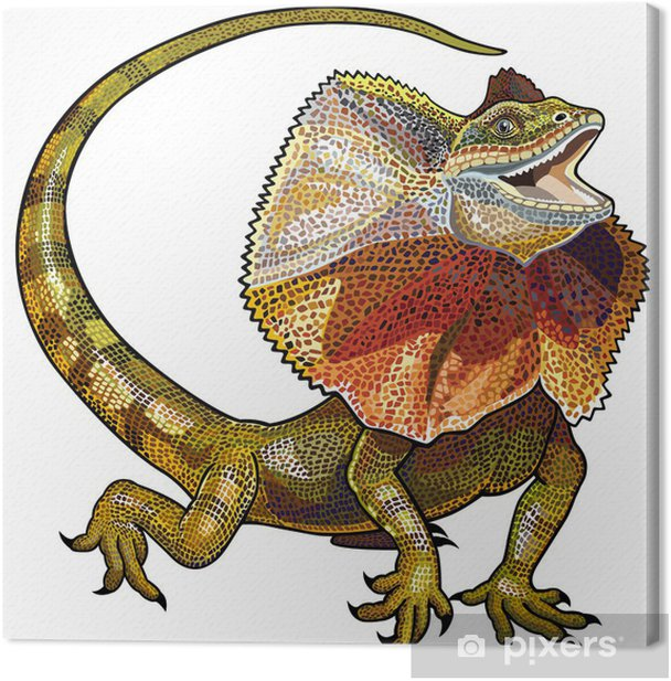 frill necked lizard Canvas Print - Imaginary Animals