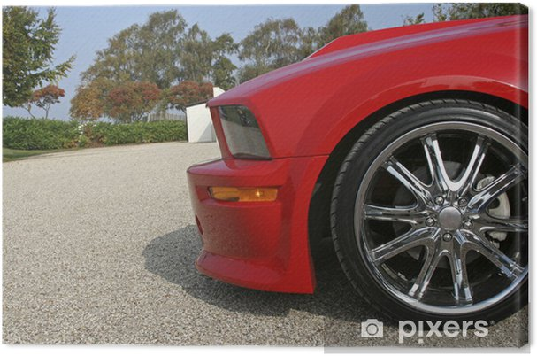 front of red american muscle car with shiny rims Canvas Print - On the Road