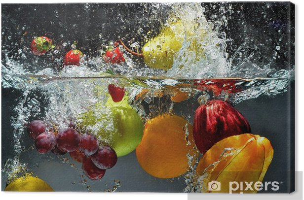 Fruit and vegetables splash into water Canvas Print -