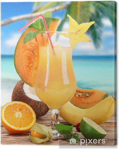 Fruit cocktail on the beach Canvas Print - Alcohol