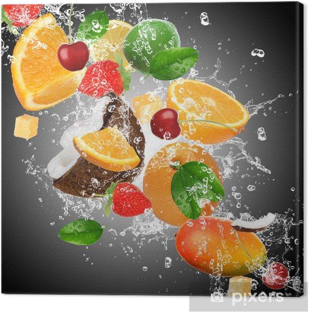 Fruit with splashing water Canvas Print - Kitchen