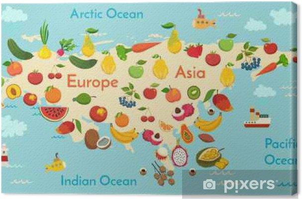 Preschool World Map.Fruit World Map Eurasia Vector Illustration Preschool Baby