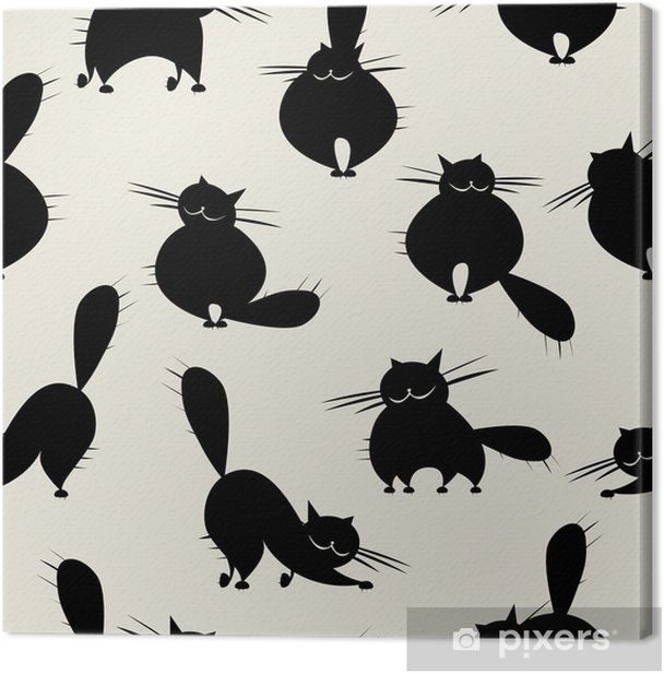 Funny big cats, seamless pattern for your design Canvas Print - Mammals