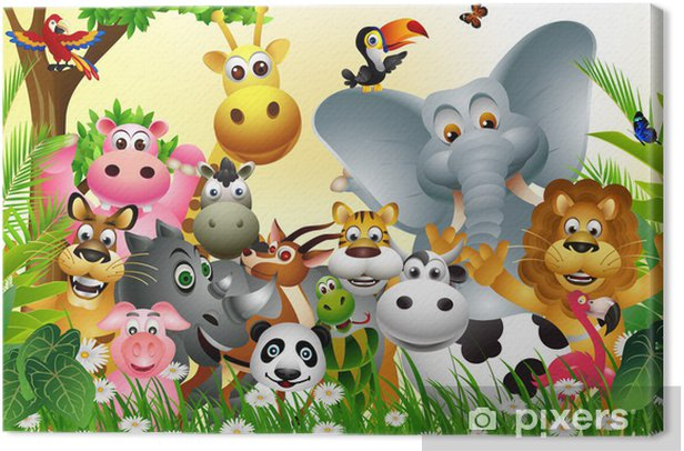 funny big set of animal cartoon with tropical forest background Canvas Print - Preschooler