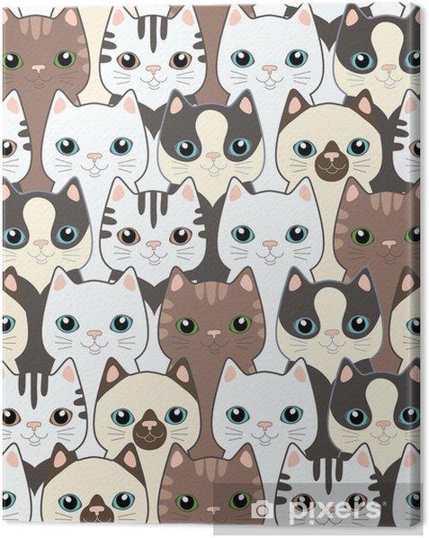 Funny cartoon cats. Seamless pattern Canvas Print - Themes