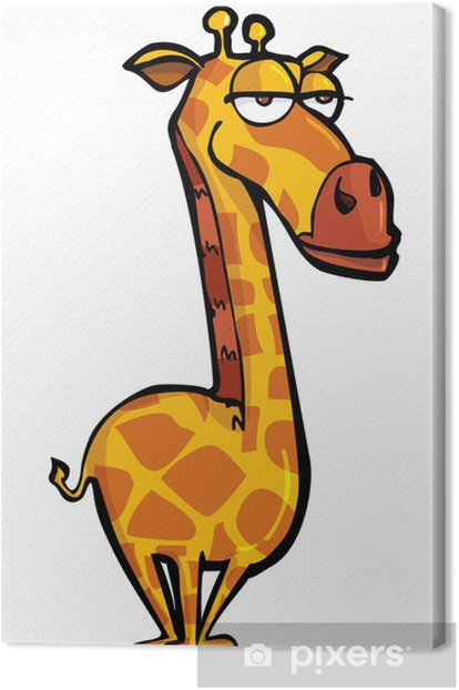 Funny cartoon of a giraffe Canvas Print - Mammals