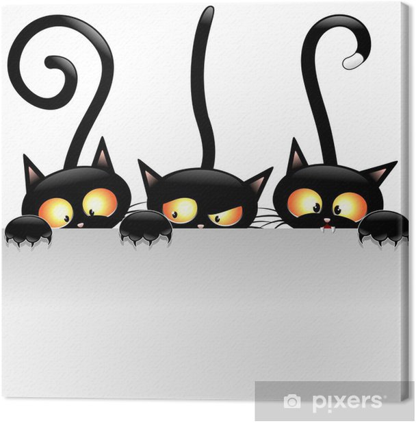 Funny Cats Cartoon with Panel-Gatti Buffi con Pannello Canvas Print -