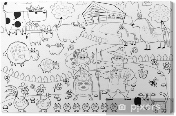 Funny Farm Family In Black And White Canvas Print Pixers We