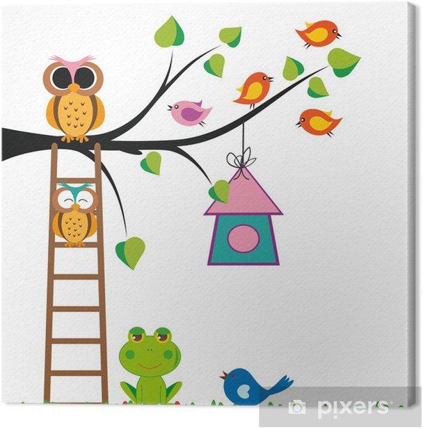 Funny kids background Canvas Print - Birds
