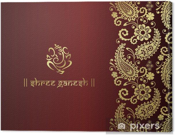 Ganesh, traditional Hindu wedding card design, India Canvas Print - Celebrations