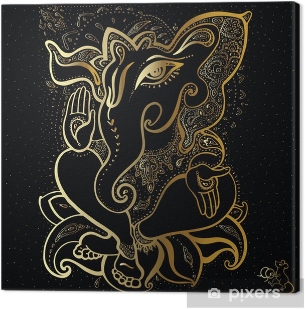 Ganesha Hand drawn illustration. Canvas Print - Mammals