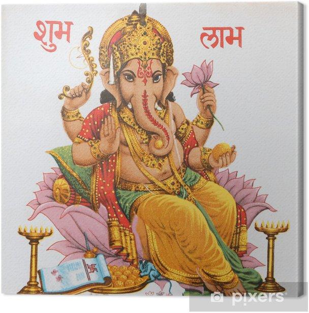 Ganesha sitting on lotus flower, India Canvas Print - Styles