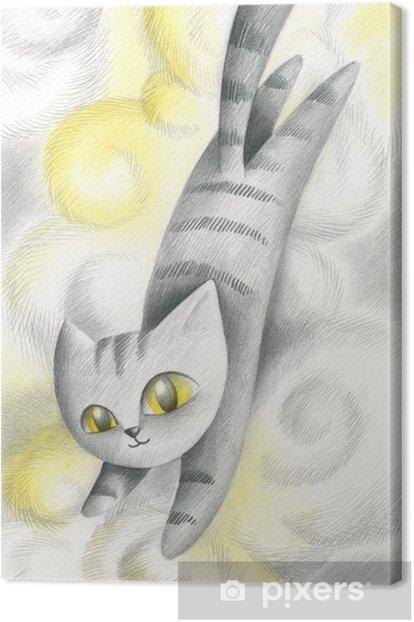 Gatto che salta nelle nuvole Canvas Print - Mammals