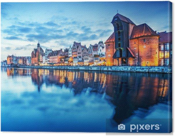 Gdansk, Poland old town, Motlawa river. Famous Zuraw crane Canvas Print - Themes