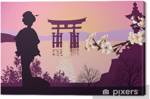 Geisha mountains in the background and the Japanese gate Canvas Print - iStaging 2