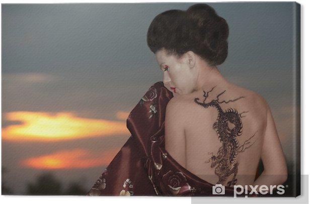 Geisha with dragon tattoo Canvas Print - Tattoos