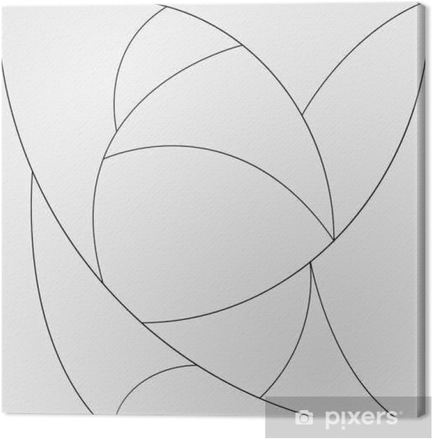 Geometric simple black and white minimalistic pattern, curved lines. Can be used as wallpaper, background or texture. Canvas Print - Graphic Resources