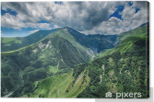 georgia mountain nature landscape beautiful summer Kazbegi Canvas Print - Landscapes