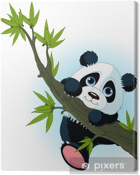 Giant panda climbing tree Canvas Print - Mammals