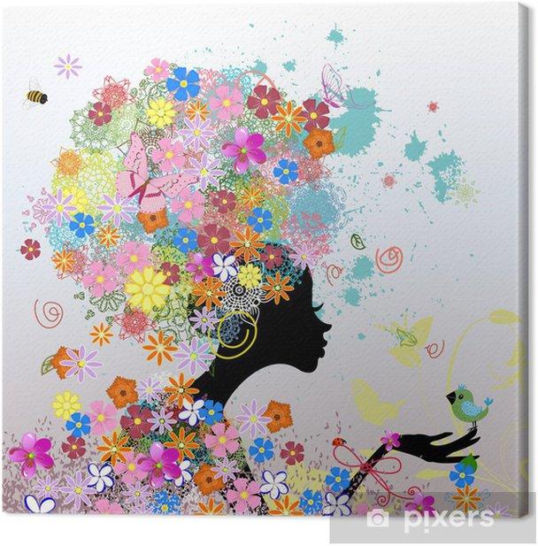 girl fashion flowers Canvas Print - Styles
