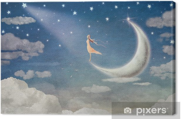 Girl on moon admires the night sky - illustration art Canvas Print - States of Mind