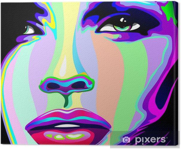 Girl's Portrait Psychedelic Rainbow-Viso Ragazza Psychedelico Canvas Print -