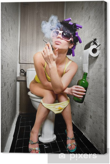 girl sits in a toilet Canvas Print - Addiction