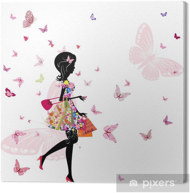 girl with a flower shop in Canvas Print - Fashion