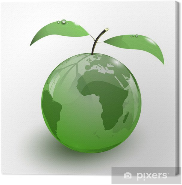 glass apple fruit earth map 3d Canvas Print - Signs and Symbols