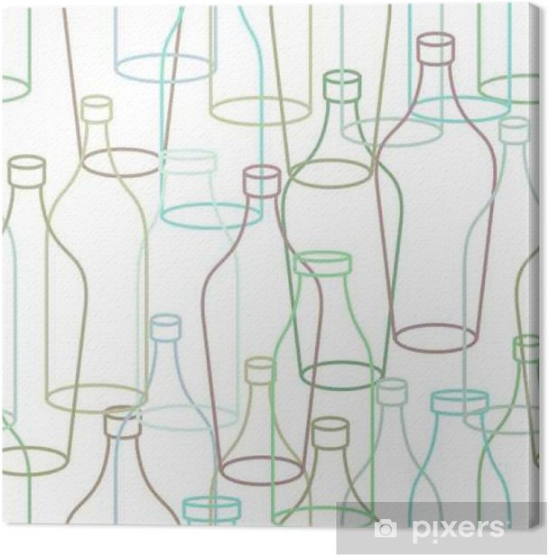 Glass bottle seamless pattern  empty transparent Bottles background  Retro  texture of fabric Canvas Print