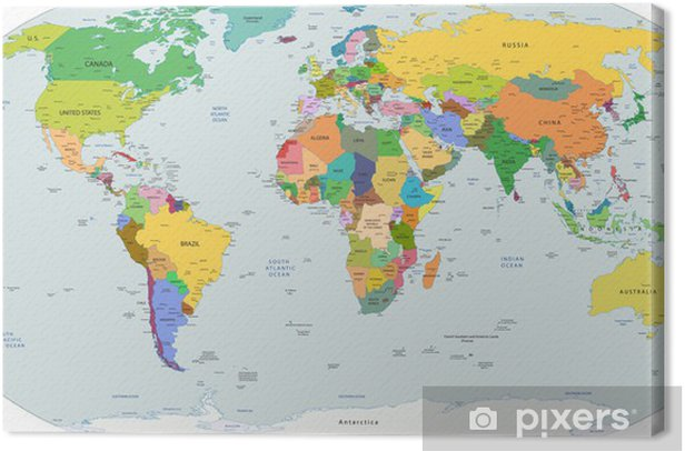 Global political map of the world, vector Canvas Print - Destinations