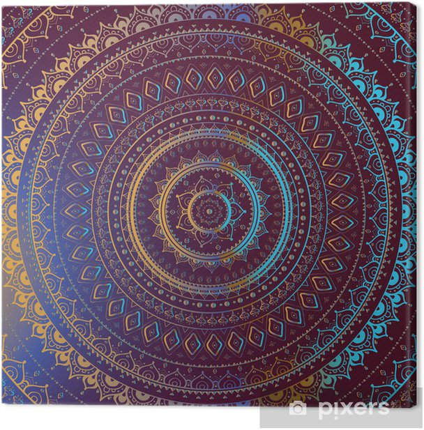 Gold Mandala. Indian decorative pattern. Canvas Print - Styles
