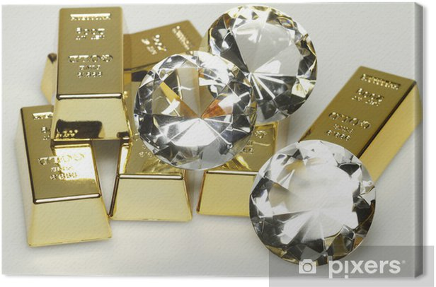 Goldbarren und Diamanten Canvas Print - Signs and Symbols