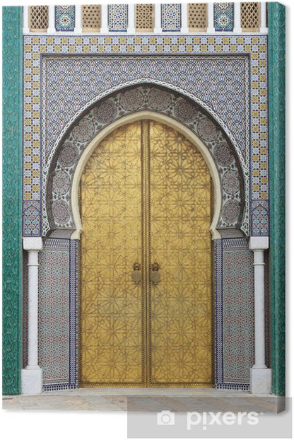 Golded door of Royal Palace in Fes, Morocco Canvas Print -