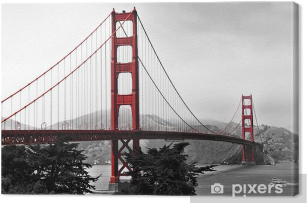 Golden Gate Bridge Red Pop On A Black And White Background Canvas Print Infrastructure