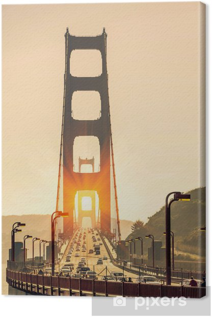 Golden Gate Bridge - San Francisco at Sunset Canvas Print - American Cities