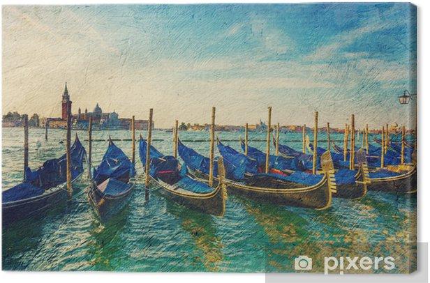 gondolas - picture in artistic retro style. Canvas Print - European Cities