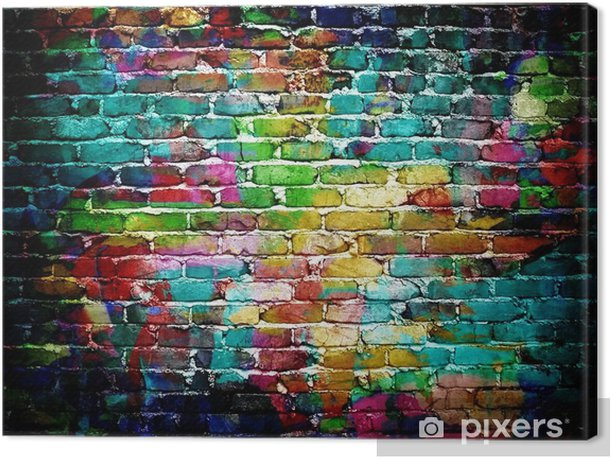 graffiti brick wall Canvas Print -