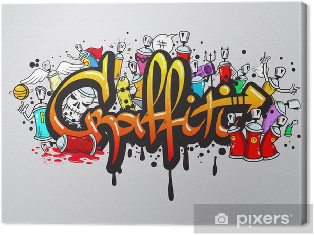 Graffiti characters composition print Canvas Print -